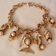 Lovely seahorse seashell fish simulated pearl charm Bracelet
