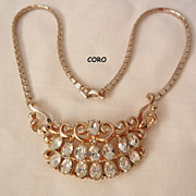 Gorgeous Art Deco Clear Rhinestone Coro Necklace