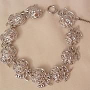Stunning sterling marcasite roses panel link Bracelet