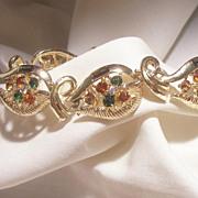 Gorgeous High end Coro pat pend Emerald green Topaz Gray color rhinestone Bracelet