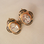 Stunning Large oval bevel rhinestone damascene Earrings