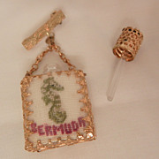 Rare lovely Seahorse Bermuda tourist petit point Perfume bottle Brooch