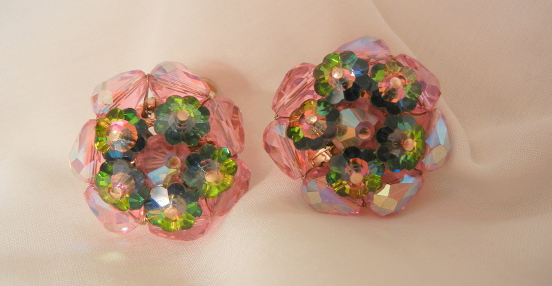 Gorgeous Vendome Pink Pastel  Rivoli Margarita watermelon Clip Earrings