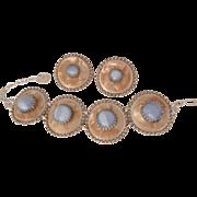 Rare Blue moon stone aluminum Bracelet clip Earring Set W. Germany