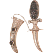 Early 1900 sterling Mexico Aztec Amethyst Carved face mask Dagger Sword Brooch