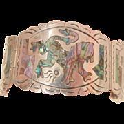 Fantastic Sterling Mexico CJB Hecho en colorful fierce Lion's Panel Bracelet 45 Grams