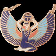 Egyptian goddess of magic and life cloisonne large beautiful Necklace
