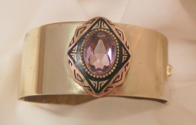 Rare Beautiful Art Nouveau bevel purple stone Brass buckle close Bracelet