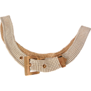 Vintage whiting Davis Co mesh white enamel and gold color buckle belt.