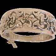 Fantastic Bold ornate layered raised design silver color hinged bangle Bracelet