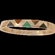 Fantastic sterling side hinged Inlay Gemstones Bangle Bracelet