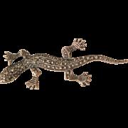 Vintage Sterling Marcasite small Gecko Lizard Brooch