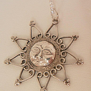 Vintage Sterling man in the moon face sun Necklace