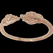 Fantastic sterling double cougar panthers etched bangle Bracelet