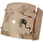 Vintage stunning Aluminum Germany enamel panel Crane Bracelet