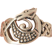Vintage Sterling magical Celtic Serpent snake Ring Size 9