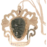 Fantastic dramatic large Mexico sterling onyx tribal carved mask brooch pendent Necklace