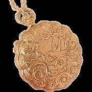 Rare large Goldette locket necklace Beautiful repousse Lithe Bird Mint Condition