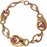 Gorgeous Deco Harry Iskin pink ice rhinestone Gold filled link Bracelet