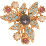 Gorgeous vintage Garnet red color rhinestone simulated Turquoise and seed bead Brooch