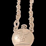 Vintage Sterling fairy perfume bottle Necklace Birmingham British Sterling Circa 50's