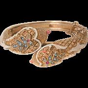 Rare Arthur pepper book piece double head snake white enamel Turquoise color bead red rhinestone Bracelet