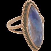 Lovely vintage sterling London blue color glass ring size 5