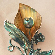 Vintage Lovely large sterling Calla Lily enamel flower Brooch