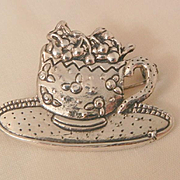 Sterling saucer cup with cherries on top Meink Brooch