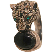 Fantastic Sterling marcasite Onyx green eye Panther tiger Ring Size 9