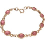 Lovely pink glass stone gold filled Vintage line Bracelet