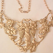Remarkable Early Vintage Brass Bib style Bird bath Grapes Necklace