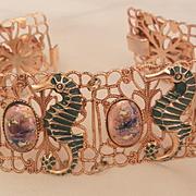 Vintage Seahorse Lavender art bead stone filigree Panel Bracelet