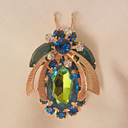 Juliana Watermelon Green Blue Belly Bee bug Book Piece Brooch