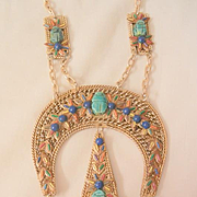 Huge Egyptian revival Scarab Turquoise Lapis coral color stone light weight Statement Necklace