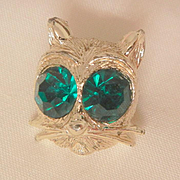 Vintage Circa fifty's Nemo big emerald color rhinestone eyes Cats face small Brooch