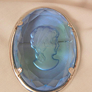 Vintage Warner Cameo reversed carved glass cobalt blue Brooch