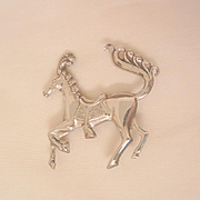 Rare vintage Sterling prancing horse Brooch marked Lang