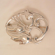 Beautiful Sterling Vintage Art Nouveau Tulip Brooch