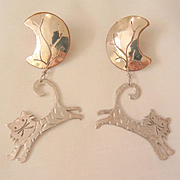 Adorable Cats dangling on half moon Copper Silver Pierced Earrings
