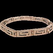 Lovely sterling vintage Greek key link Bracelet