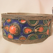 Fantastic Vintage Tibetan pin clasp deep blue green and coral color enamel bangle Bracelet