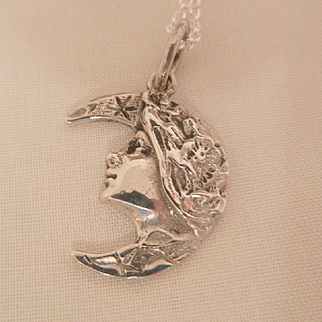 Sterling small Art Nouveau style woman in half moon Necklace