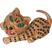 Vintage Rare whimsical Tiger Cat black Red stones Emerald Green eyes Brooch