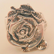 Vintage Sterling rose with snake and leafs Ring Size 6