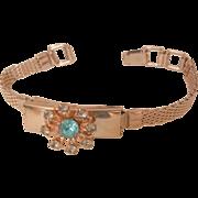 Vintage Aqua Rhinestone flip top photo locket mesh Bracelet