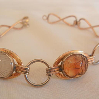 Lovely Quartz stone Scarab Gold Filled link Bracelet