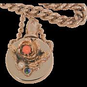 Vintage rare rose coral color seed bead blue rhinestone perfume bottle link Bracelet