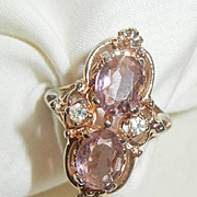 Vintage Lovely Victorian Style reproduction Amethyst rhinestone high raised Ring Size 7