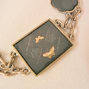 Summer sale Vintage Japan early 1900's brass butterfly damascene link Bracelet